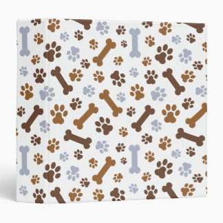 Dog Paw Prints Pattern 3 Ring Binder