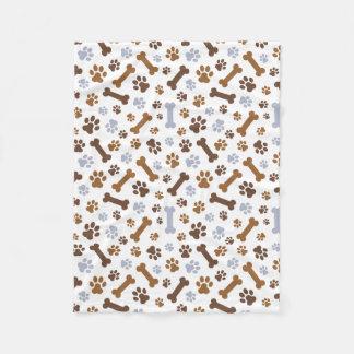 Dog Paw Prints Pattern Fleece Blanket