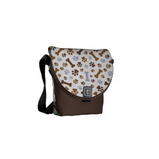 Dog Paw Prints Pattern Messenger Bag