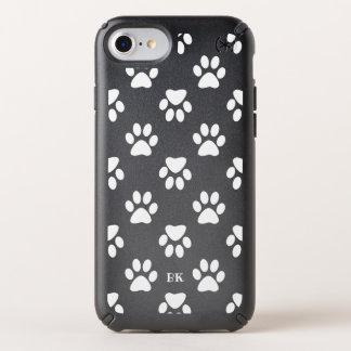 Dog Paw Prints Pattern - Monogram Speck iPhone Case