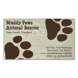 Dog Paw Prints - Pet Services Magnetic Business Card