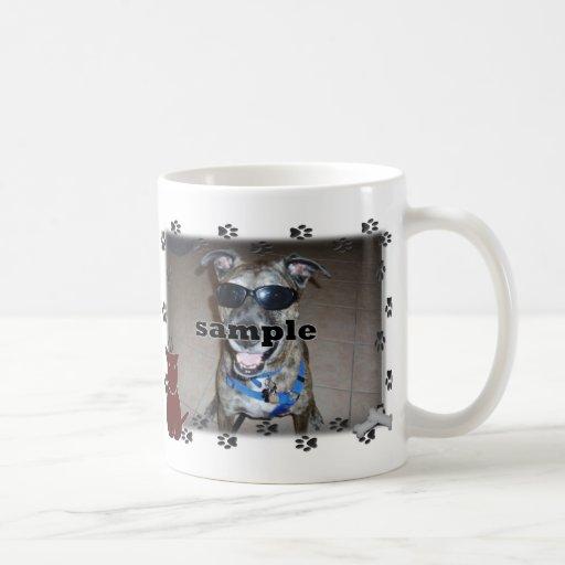 Dog Paw Prints Photo Frame Coffee Mugs