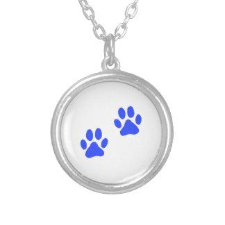 Dog Paw Prints Round Pendant Necklace