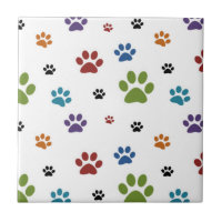 Dog Paw Prints Tile