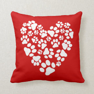 Dog Paw Prints Valentine Heart Throw Pillow