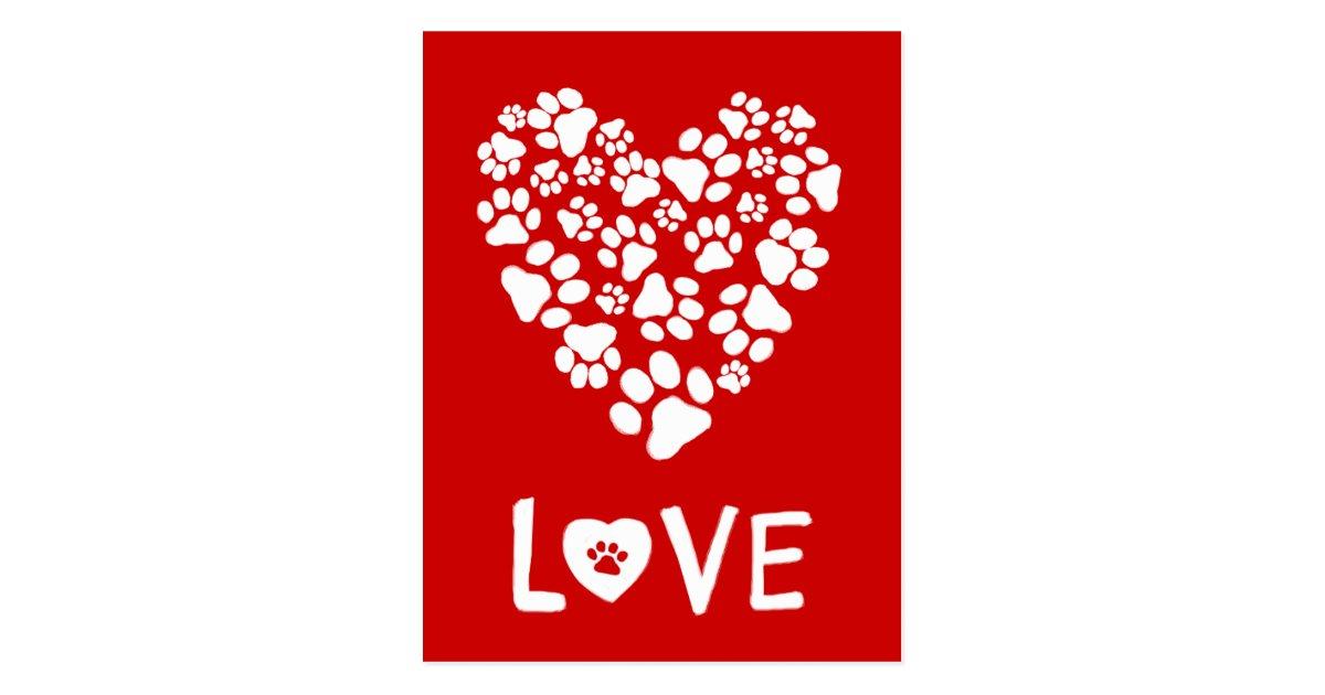 dog paw prints valentine love heart postcard