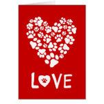 Dog Paw Prints Valentine's Day Heart Card
