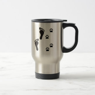 Dog paw prints with Human foot print 15 Oz Stainless Steel Travel Mug