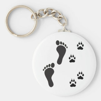 Dog paw prints with Human foot print Basic Round Button Keychain