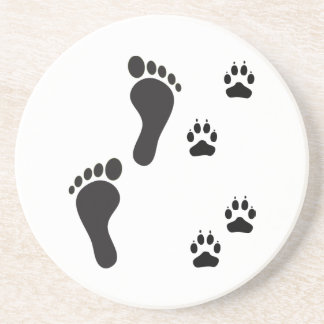 Dog paw prints with Human foot print Beverage Coasters