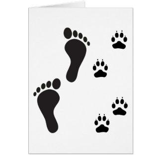 Dog paw prints with Human foot print Card
