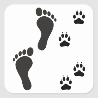 Dog paw prints with Human foot print Square Sticker