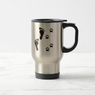 Dog paw prints with Human foot print Travel Mug