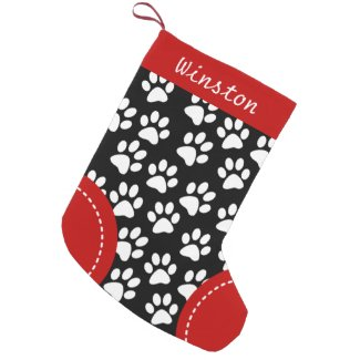 Dog Paw Themed Black Personalized Christmas Small Christmas Stocking