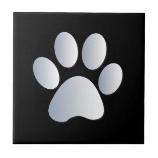 Dog pawprint silver, black fun tile, trivet, gift ceramic tile