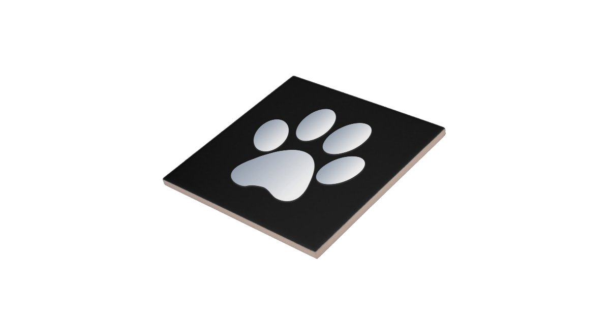 Dog Pawprint Silver Black Fun Tile Trivet Gift Ceramic