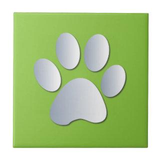 Dog pawprint silver, green fun tile, trivet, gift tile