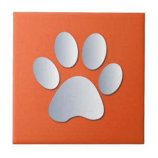 Dog pawprint silver, orange fun tile, trivet, gift ceramic tile