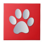 Dog pawprint silver, red fun tile, trivet, gift small square tile
