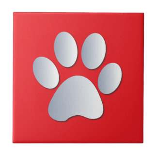 Dog pawprint silver, red fun tile, trivet, gift tile