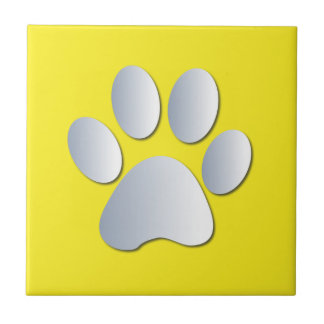 Dog pawprint silver, yellow fun tile, trivet, gift tile
