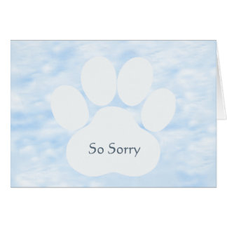 Dog Pawprint So Sorry Sympathy Card