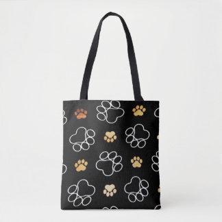 Dog Pawprint Tracks Black Tote Bag
