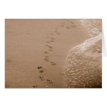 Dog Pawprints In The Sand Sympathy Card