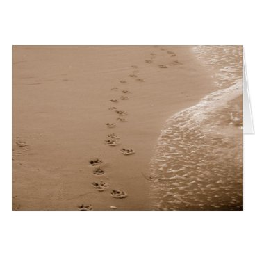 normagolden Dog Pawprints In The Sand Sympathy Card