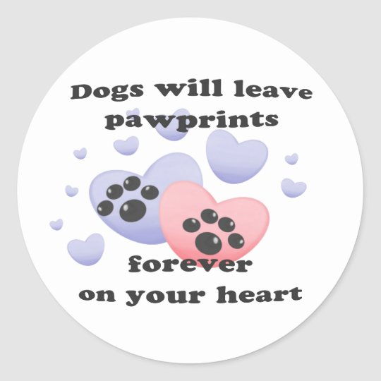 Dog Pawprints On The Heart Classic Round Sticker