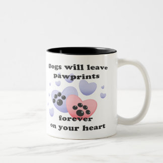 Dog Pawprints On The Heart Mugs