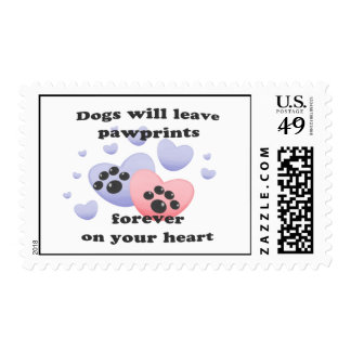 Dog Pawprints On The Heart Postage
