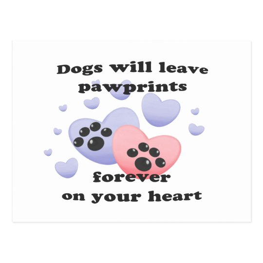 Dog Pawprints On The Heart Postcard