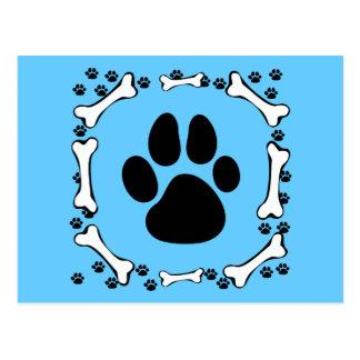 Dog Paws and Dog Bones Postcard