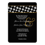 DOG PAWS Animal Print Wedding V03 Card