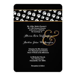 DOG PAWS Animal Print Wedding V03 Card