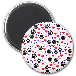 Dog Paws, Bones, Dots, Hearts - Red Pink Blue 2 Inch Round Magnet
