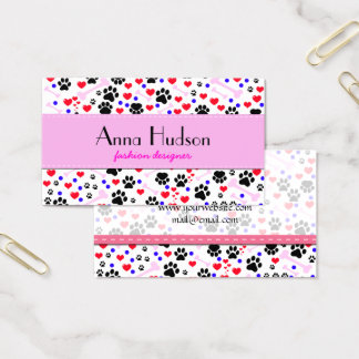 Dog Paws, Bones, Dots, Hearts - Red Pink Blue Business Card
