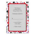 Dog Paws, Bones, Dots, Hearts - Red Pink Blue 3.5x5 Paper Invitation Card