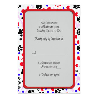 "Dog Paws, Bones, Dots, Hearts - Red Pink Blue 3.5"" X 5"" Invitation Card"