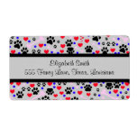 Dog Paws, Bones, Dots, Hearts - Red Pink Blue Shipping Label