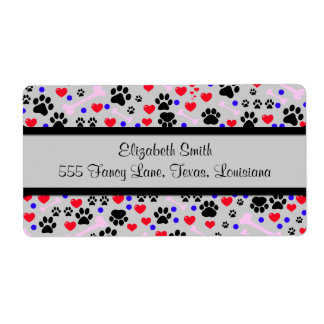 Dog Paws, Bones, Dots, Hearts - Red Pink Blue Shipping Labels