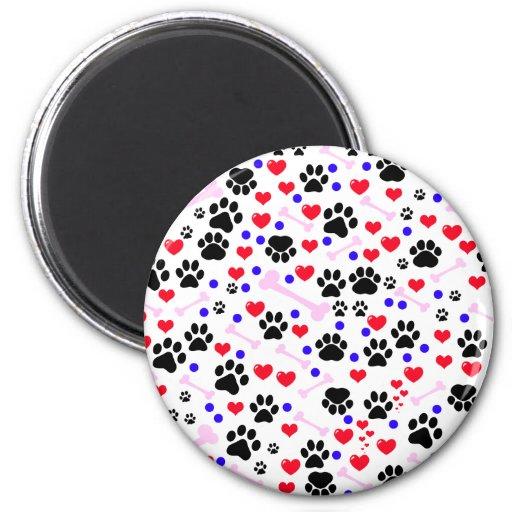 Dog Paws, Bones, Dots, Hearts - Red Pink Blue Refrigerator Magnet