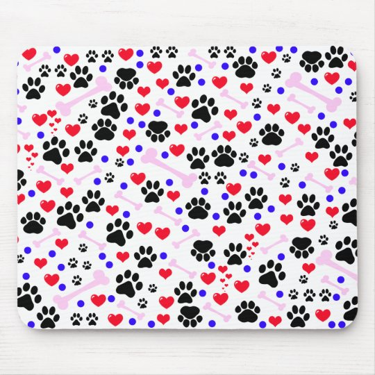 Dog Paws, Bones, Dots, Hearts - Red Pink Blue Mouse Pad
