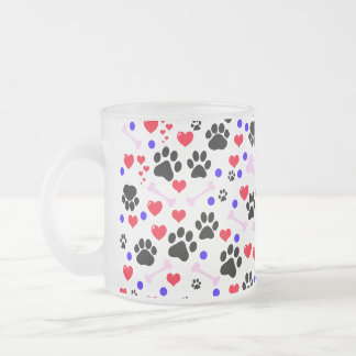 Dog Paws, Bones, Dots, Hearts - Red Pink Blue 10 Oz Frosted Glass Coffee Mug