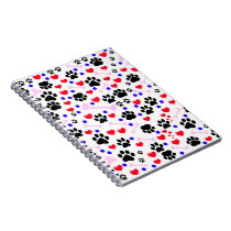 Dog Paws, Bones, Dots, Hearts - Red Pink Blue Notebook
