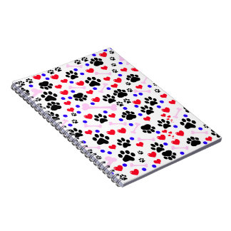 Dog Paws, Bones, Dots, Hearts - Red Pink Blue Spiral Notebook