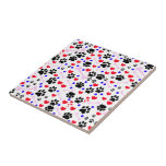 Dog Paws, Bones, Dots, Hearts - Red Pink Blue Tiles