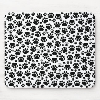 Dog Paws, Dog Trails, Puppy Paws - White Black Mouse Pad