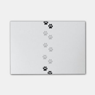 Dog Paws, Dog Trails, Puppy Paws - White Black Post-it® Notes